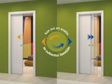 Self-closing toiminnon avulla Eclisse Pocket Door -liukuovi sulkeutuu itsestään. Kätevä toiminto esimerkiksi vaatehuoneisiin!