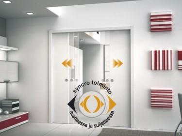 Eclissen kätevä Syncro-toiminnon avulla pariovien molemmat ovilehdet liukuvat samanaikaisesti.